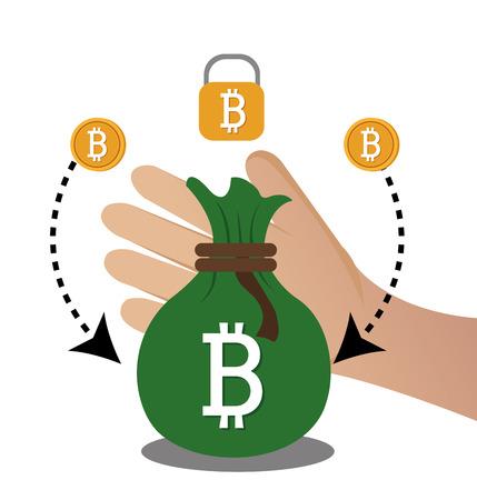 millionaire: Bitcoin virtual money graphic icons design, vector illustration eps10
