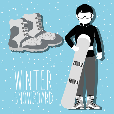 Winter sport and wear accesories design theme, vector illustration graphic