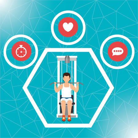 lady clock: Fitness lifestyle and gym routine graphic design, vector illustration Illustration