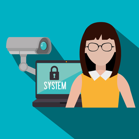 lock block: Security system and surveillance graphic design with icons, vector illustration