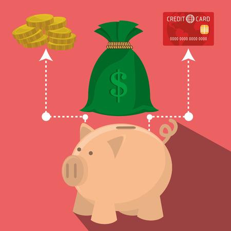 global savings: Bank, global economy and money savings graphic design, vector illustration