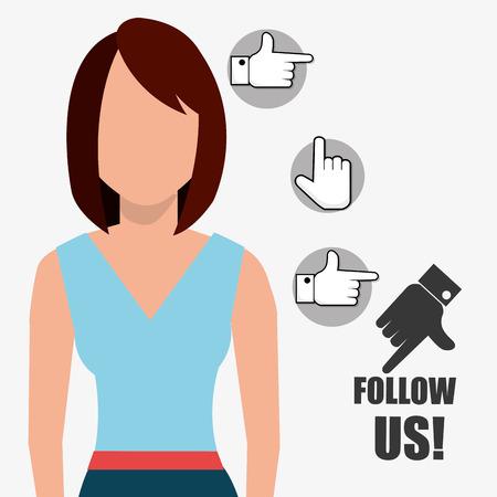 socialising: Follow me social trendy graphic design, vector illustration