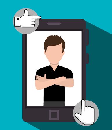 socializing: Follow me social trendy graphic design, vector illustration