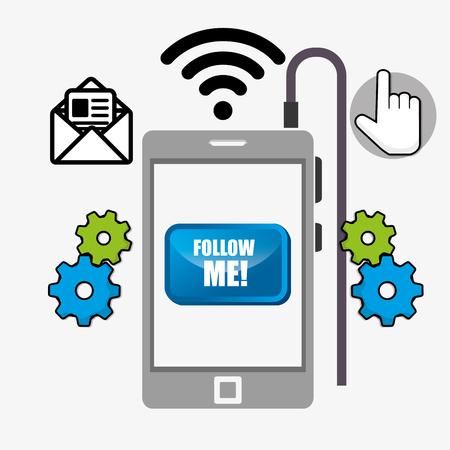 socializando: Sígueme moda diseño gráfico, ilustración vectorial sociales