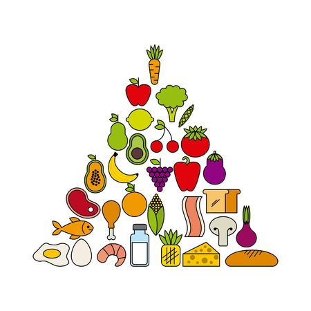 piramide nutricional: diseño de concepto de nutrición, ejemplo gráfico del vector eps10