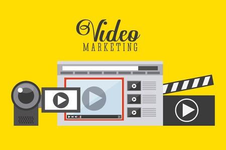 redes de mercadeo: diseño de la comercialización de vídeo, ilustración vectorial gráfico eps10 Vectores