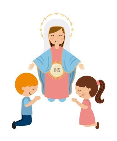 niño orando: Diseño de la religión católica, ilustración vectorial gráfico eps10