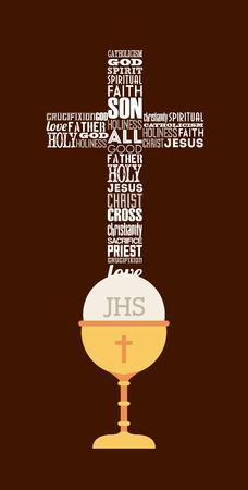 holy eucharist: first communion design, vector illustration eps10 graphic