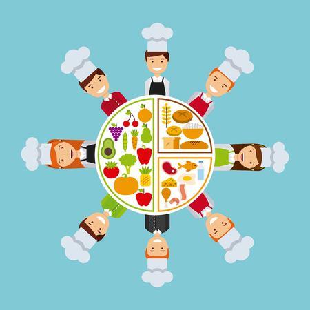 carnes y verduras: la gente de diseño de cocina, ilustración vectorial gráfico eps10