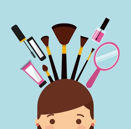 set up: makeover female design, vector illustration eps10 graphic
