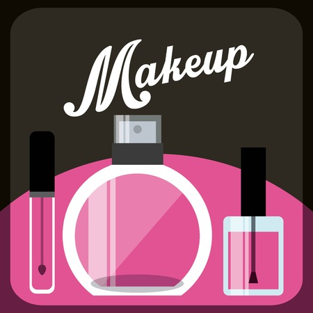 beauty products: makeover female design, vector illustration eps10 graphic
