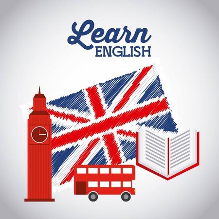inglese flag: imparare l'inglese progettazione, illustrazione grafica vettoriale eps10