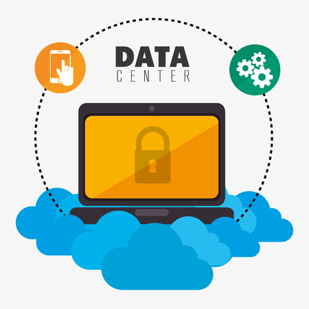 media network: Data center security system graphic with icons, vector illustration design