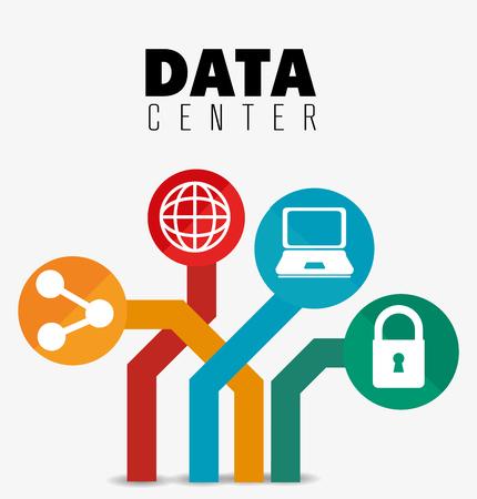 データ センターのセキュリティ システム グラフィック、アイコン、ベクトル イラスト デザイン
