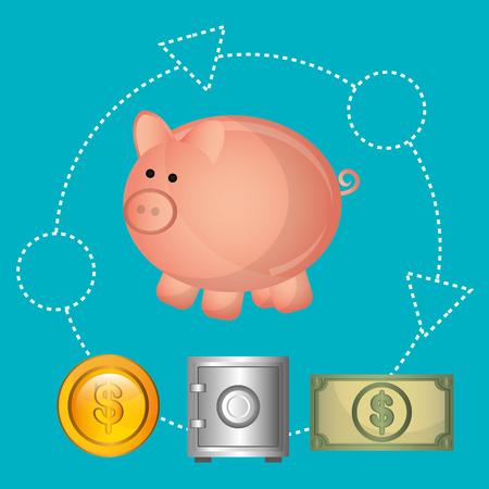 strongbox: Money online payment graphic design, vector illustration eps10