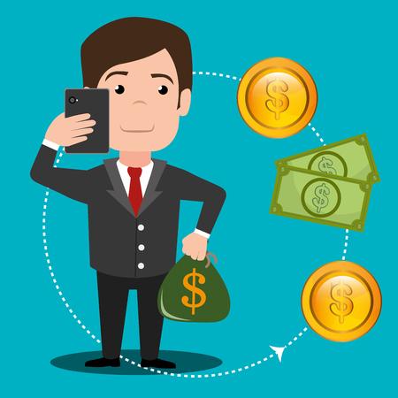money online: Money online payment graphic design, vector illustration eps10