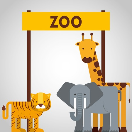 animals in the zoo: animales del zool�gico de dise�o, ejemplo gr�fico del vector