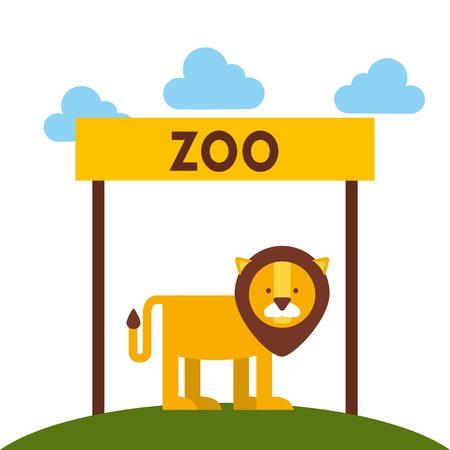 leon caricatura: animales del zool�gico de dise�o, ejemplo gr�fico del vector