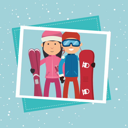 ski wear: Winter sport wear and accesories graphic design, vector illustration