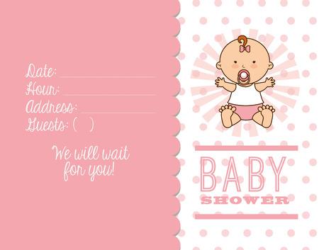 invitacion baby shower: beb� ducha dise�o, ilustraci�n vectorial gr�fico eps10