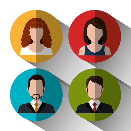 default: Young people avatar silhouette graphic design, vector illustration  Illustration