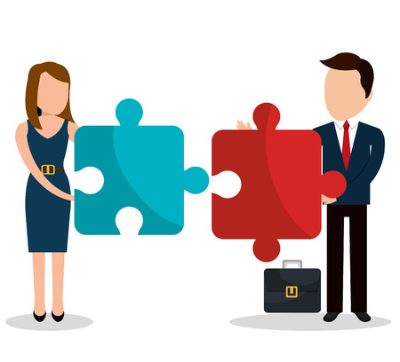 peice: Business people with icons graphic design, vector illustration