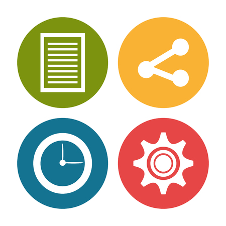 time sharing: Social media technology graphic design with icons, vector illustration