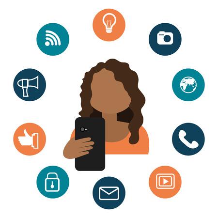 socialising: Diseño gráfico tecnología de medios de comunicación social con los iconos, ilustración vectorial