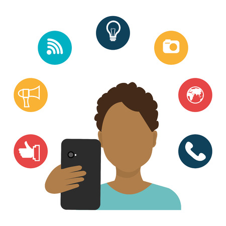 socializing: Social media technology graphic design with icons, vector illustration