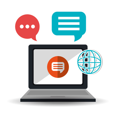 socializando: Social media technology graphic design with icons, vector illustration