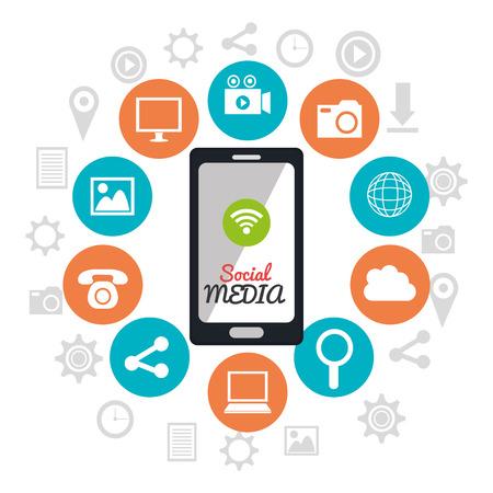 socializando: Dise�o gr�fico tecnolog�a de medios de comunicaci�n social con los iconos, ilustraci�n vectorial