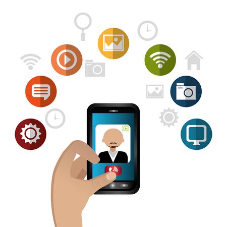 socializando: la tecnología de los medios de comunicación social, diseño gráfico con iconos, ilustración vectorial