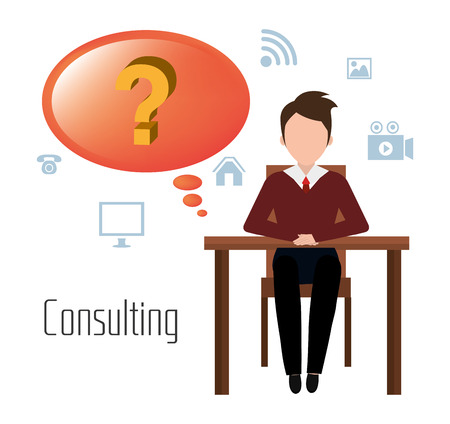 financial questions: Business professional consulting graphic design, vector illustration