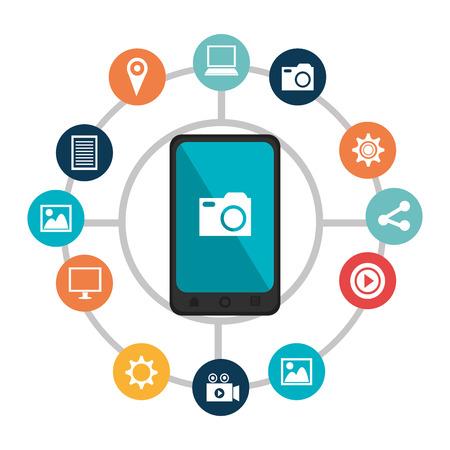 socialising: Social media and digital marketing graphic design, vector illustration Vectores