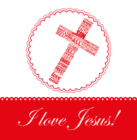 jesus on the cross: i love jesus design, vector illustration  Illustration