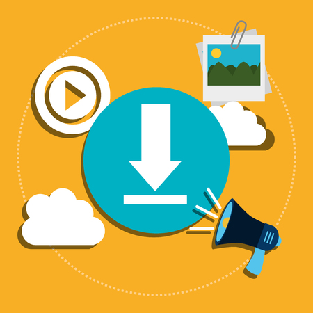 socializando: Social media and technology graphic design, vector illustration Vectores