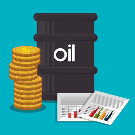 mechanism of progress: Petroleum industry and oil prices graphic design, vector illustration
