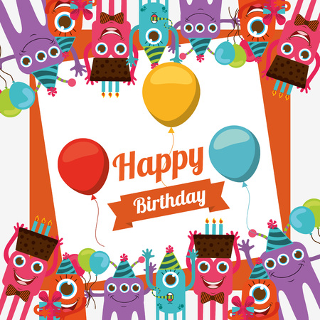 happy birthday text: happy birthday card design, vector illustration