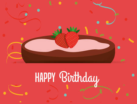 happy birthday text: happy birthday card design, vector illustration  Illustration