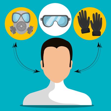 Equipos de seguridad industrial diseño gráfico, ilustración vectorial Ilustración de vector