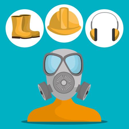 seguridad industrial: Industrial security equipment graphic design, vector illustration