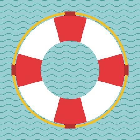 salvavidas: Salvamento icono del diseño sobre el fondo de la onda, ilustración vectorial eps10 Vectores
