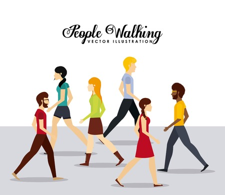 caminando: personas que caminan diseño, ilustración vectorial gráfico eps10