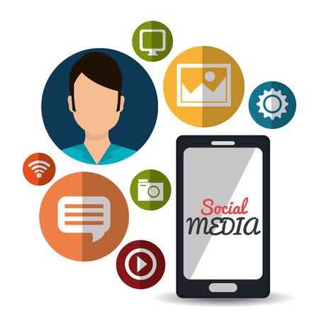 socializando: Los medios sociales y marketing digital dise�o gr�fico, ilustraci�n vectorial eps10 Vectores