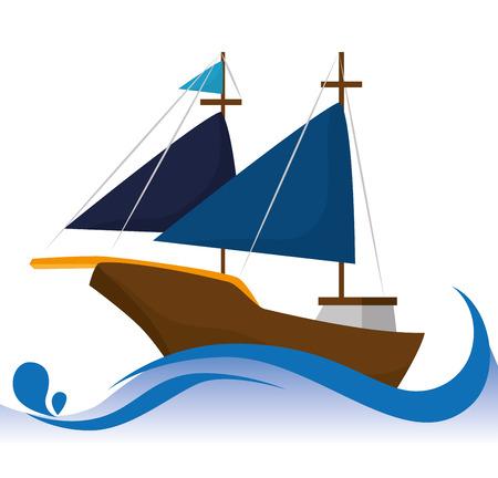 anchored: Antique sail boat graphic design, vector illustration eps10