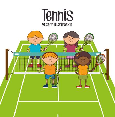 Tennis sport game graphic design, vector illustration