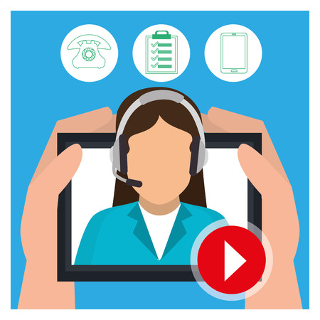 grahic: Customer service and technical support grahic design, vector illustration Stock Photo