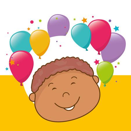 hapiness: Kids birthday celebration cartoon design, vector illustration graphic Illustration