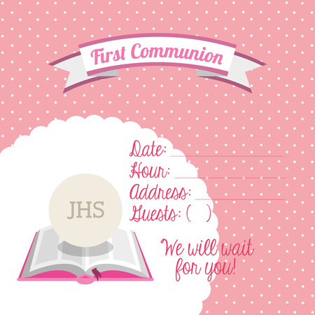 first communion: first communion card design, vector illustration eps10 graphic