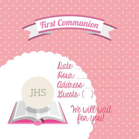 première communion: première conception de carte de communion, illustration graphique eps10